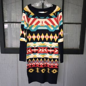 Jessica Simpson sweater dress, heavily patterned